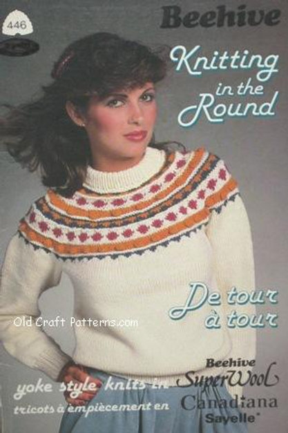 Patons 446. Knitting in the Round - Ladies Mens Girls Sweater Patterns