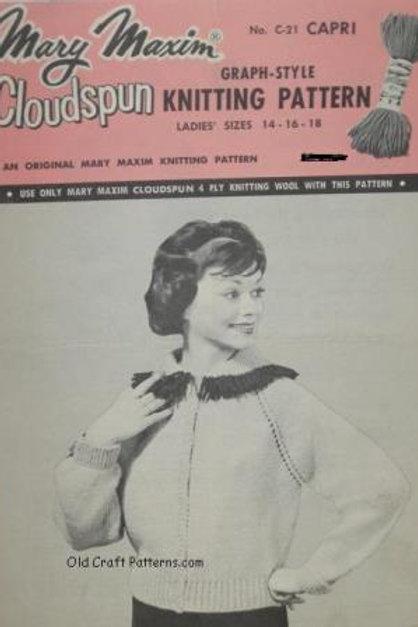 Mary Maxim 21. Ladys Cardigan with Fringed Shawl Collar Knitting Pattern