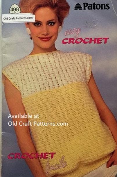 Patons 498. Easy Crochet - Ladies Sleeveless Shells & Sweater Crocheted Patterns