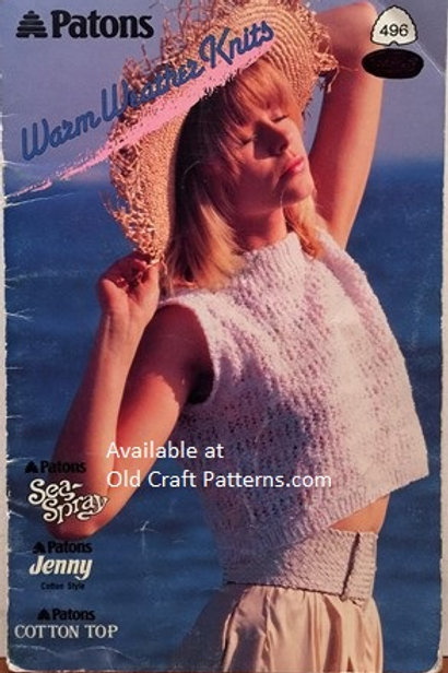 Patons 496. Warm Weather Knits - Ladies Crop Top Shell Sweater Knitting Patterns