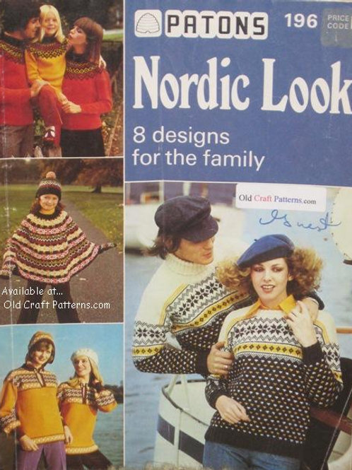 Patons 196. Nordic Look - 8 Family Designs Knitting Patterns