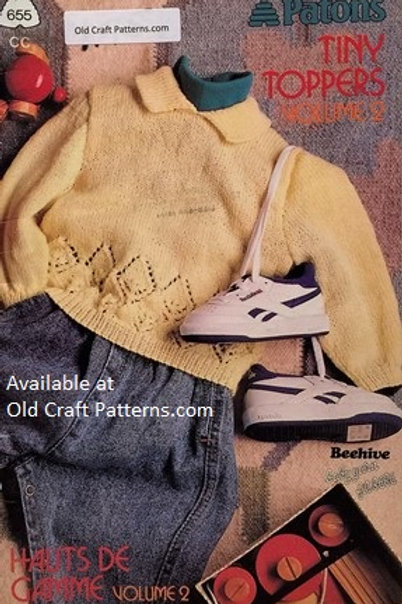 Patons 655. Tiny Toppers - Baby Sweaters Knitting Patterns