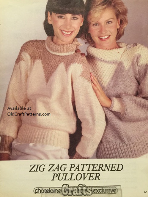 Chatelaine 154. Zig Zag Patterned Pullover Knitting Pattern