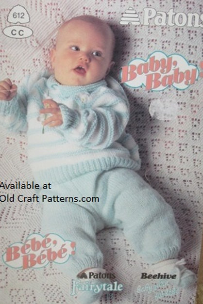 Patons 612. Baby Baby Sweaters Dress Afghans Pants Hat Knitting Patterns