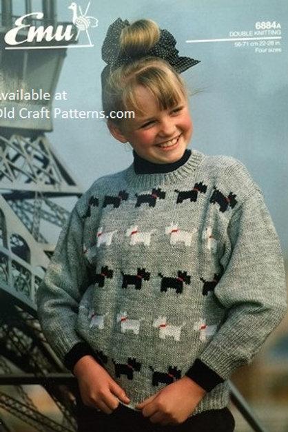 Emu 6884. Childs Youth Scottie Dog Sweater - Knitting Pattern