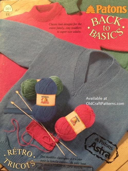 Patons 561. Back to Basics - Classic Knitting Patterns
