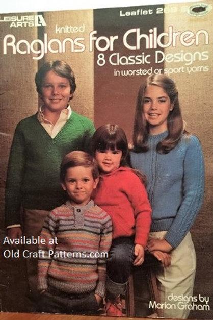 Leisure Arts 269. Raglans for Children - Classic Designs - Knitting Patterns