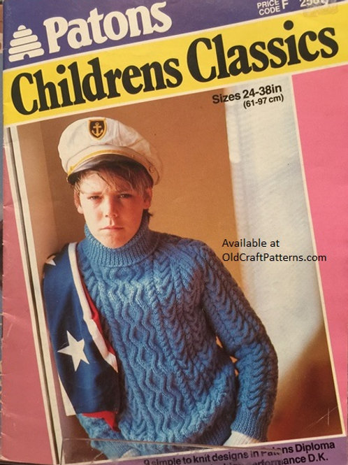 "Patons 258. Childrens Classics  Sizes 24"" to 38"" Knitting Patterns"