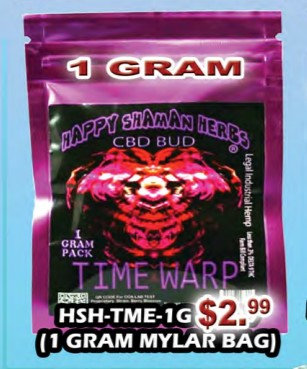 TIME WARP bud 1gram Mylar bag