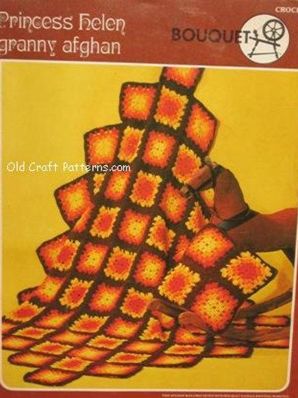 Bouquet 351. Princess Helen Granny Squares Crochet Afghan Pattern