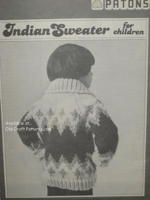 Beehive L-5. Indian Sweater for Children - Knitting Pattern