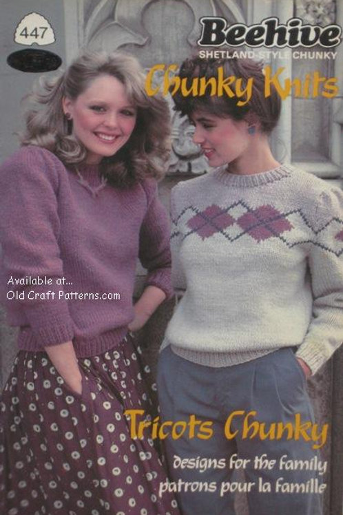 Patons 447. Chunky Knits - Family Sweater Designs Knitting Patterns