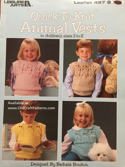 Leisure Arts 497. Quick To Knit Animal Vests - Knitting Patterns