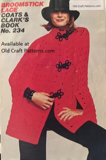 Coats & Clarks 234. Broomstick Lace Crochet Poncho Baby Afghan Shawl Patterns