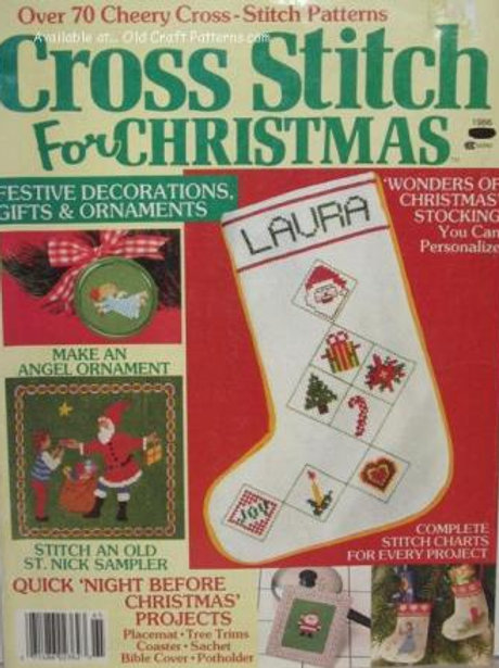 Cross Stitch For Christmas 1986. Angel Ornaments Stocking Coaster Patterns