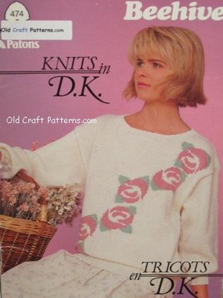 Patons 474. Knits in Double Knitting - Ladies Dressy Sweaters Knitting Patterns