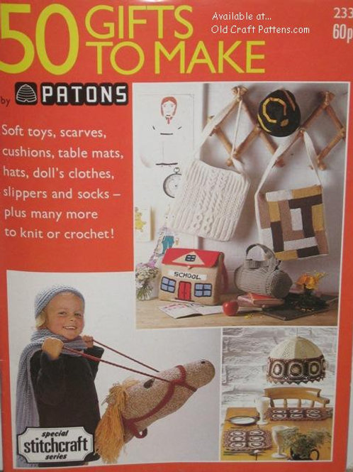 Patons 233. 50 Gifts to Make Toys Cushions Socks Slippers Knit Crochet Patterns