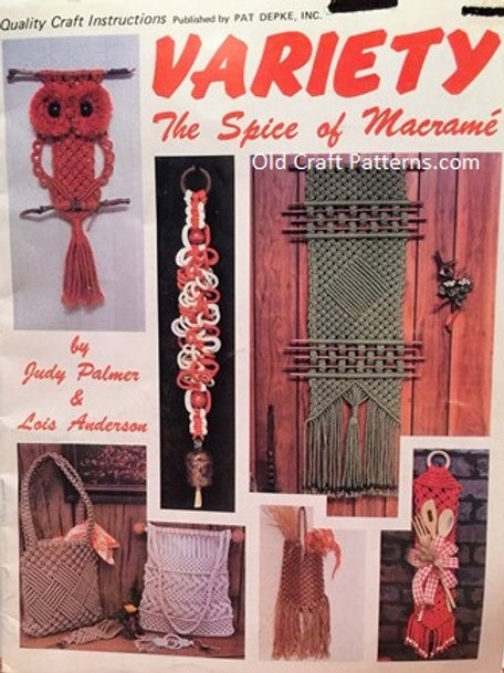 Pat Depke 1052. Variety the Spice of Macrame Purse Owl Hangers Lampshade Pattern