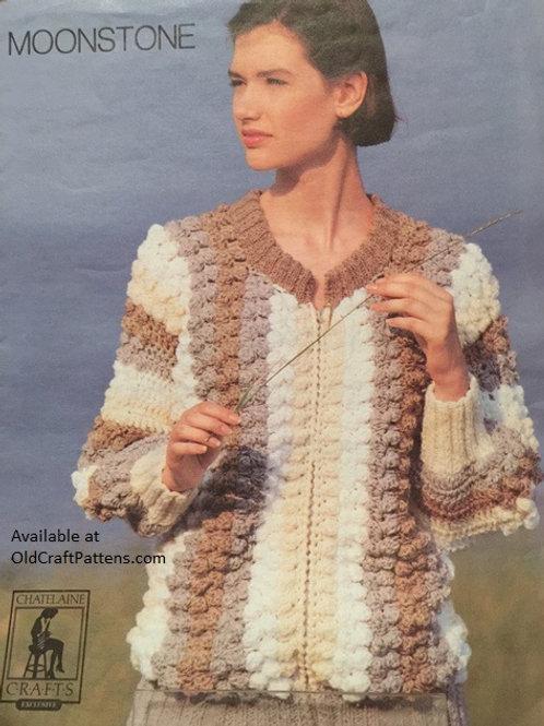 Chatelaine 84. Bobble Crocheted Sweater Jacket Crochet Pattern