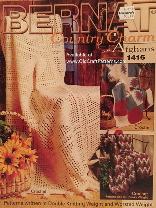 Bernat 1416. Country Charm Afghans - Crochet and Knitting Patterns