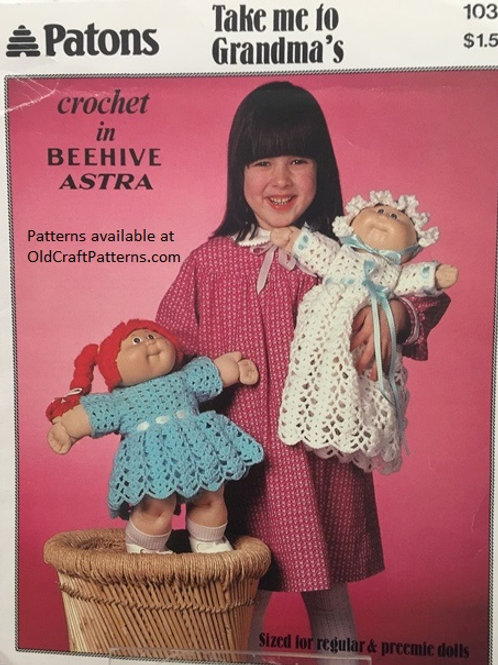 """Patons 1035. Take me to Grandma's - Doll Clothes for 13"""" Doll Crochet Patterns"""