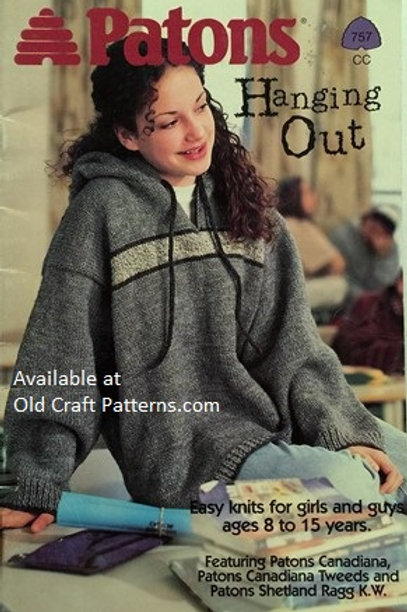 Patons 757. Hanging Out - Easy Knits for Girls Guys Ages 8 to 15 Years Patterns