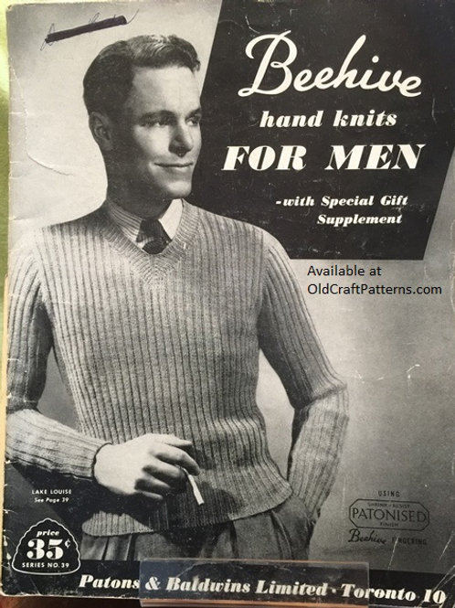 Patons 39. Beehive Hand Knits for Men - Knitting Patterns