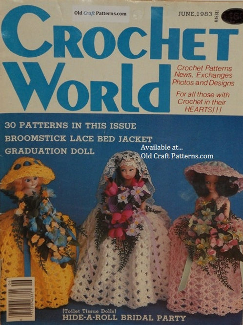 Crochet World June 1983 - Doll & Baby Clothes, Tablecloth, Rug Patterns