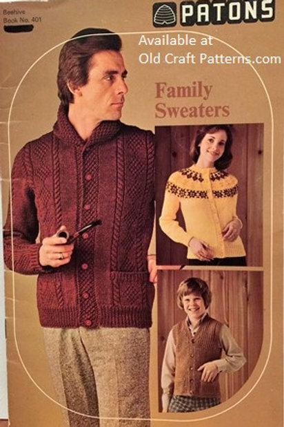 Patons 401. Family Sweaters Vests Cardigans Pullovers Knitting Patterns