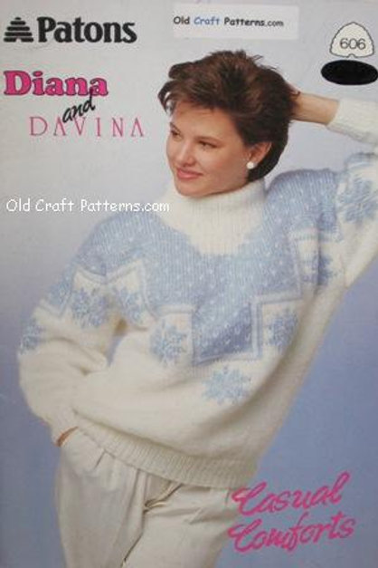 Patons 606. Casual Comforts - Ladys Jacket & Pullover Sweaters Knitting Patterns