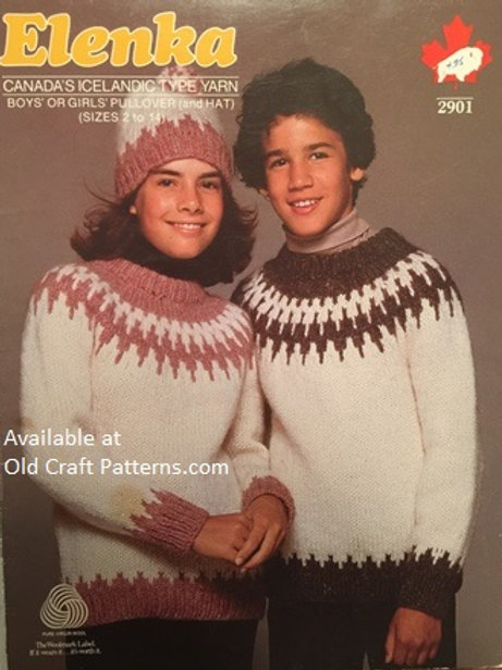 Elenka 2901. Girls or Boys Pullover with Hat Knitting Patterns