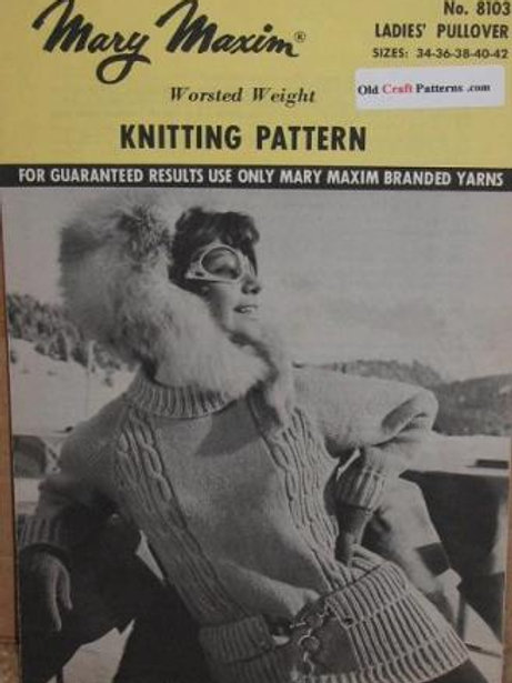 Mary Maxim 8103. Touch of Aran Knit Cables Ladies Pullover - Knitting Pattern