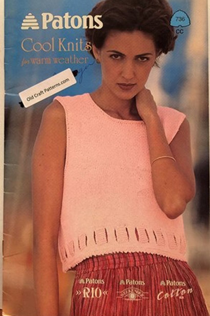 Patons 736. Cool Knits for Warm Weather - Ladies Cotton Tops Knitting Patterns
