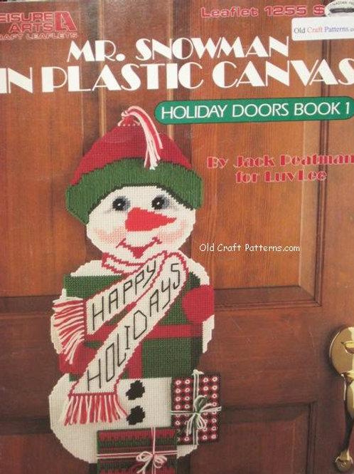 Leisure Arts 1255. Mr Snowman Plastic Canvas Pattern