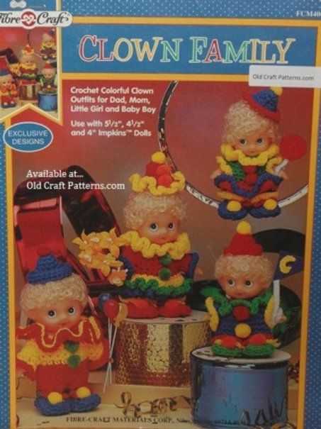 Fibre Craft 405. Colorful Clown Doll Family Outfits - Crochet Patterns