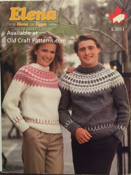 Elena 2014. His or Hers Fair Isle Pullover  Knitting Patter