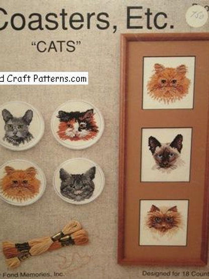 Fond Memories Book 1. Cats Coasters Etc - Patterns for 18 Count Cross Stitch
