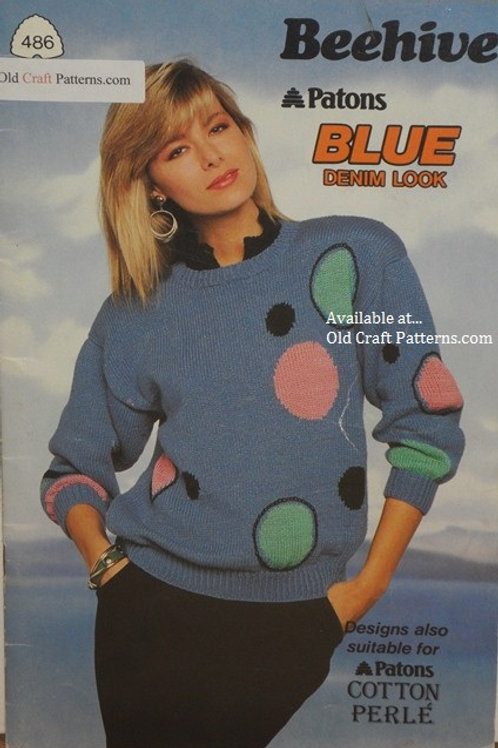 Patons 486. Blue Denim Look Sweater Skirt Set, Cabled Sweaters Knitting Patterns