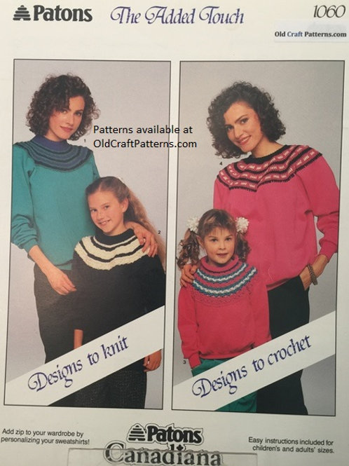 Patons 1060. Added Touch - Mother Daughter Fair Isle Sweaters Knitting & Crochet