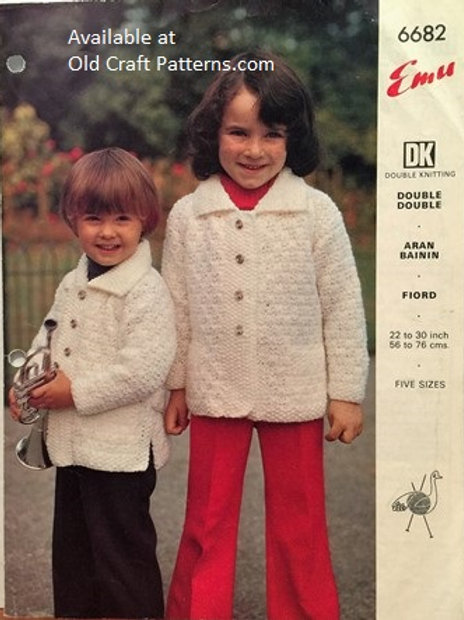 Emu 6682. Childs Sweater Jacket Knitting Pattern