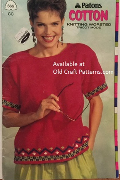 Patons 666. Cotton Knitted Worsted Weight Sweaters - Knitting Patterns
