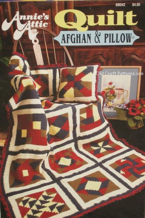 Annies Attic 8b042. Quilt Afghan and Pillow Crochet Patterns
