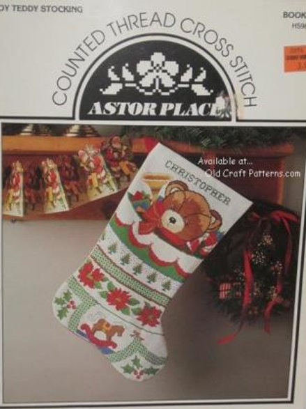 Astor Place 31. Toy Teddy Stocking Christmas Counted Cross Stitch Pattern