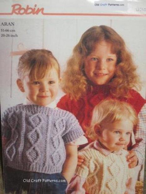Robin 13761. Childrens Aran Knit Sleeveless Vest - Knitting Pattern