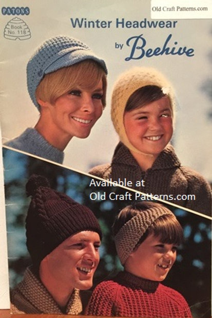 Patons 118. Winter Headwear - Family Hats Crochet Knitting Patterns