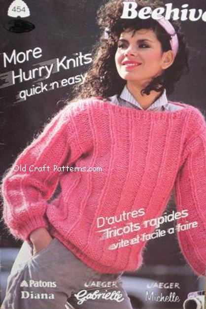 Patons 454. More Hurry Knits - Quick & Easy Sweaters Knitting Patterns