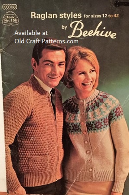 Patons 108 Raglan Styles Aran Fair Isle Basic Sweaters Knitting Patterns