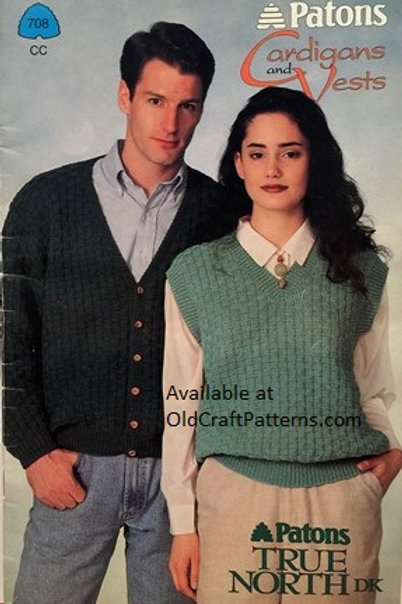 Patons 708. Cardigans and Vests - Mens & Ladies Knitting Patterns