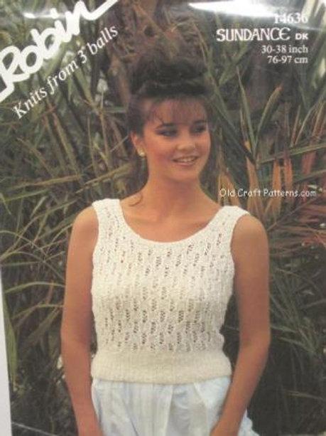 Robin 14636. Ladies Sleeveless Top - Knitting Pattern