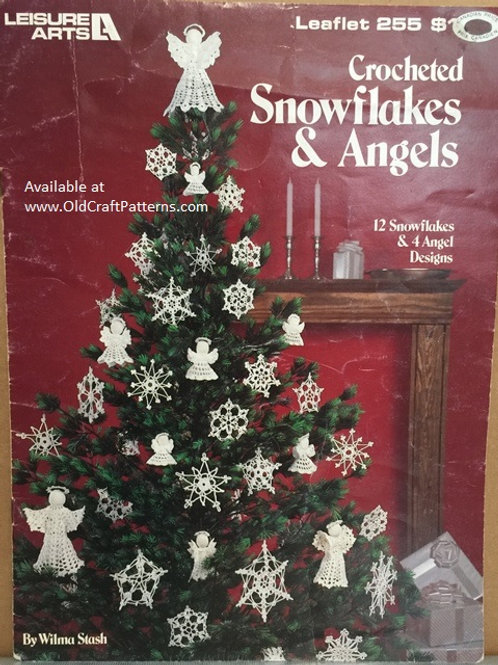 Leisure Arts 255. Crocheted Snowflakes & Angels Patterns